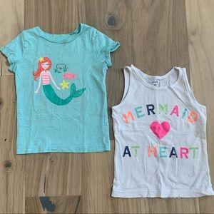 ⏰5/$25 Carter's Girls 4T Tee Shirts Lot Mermaid